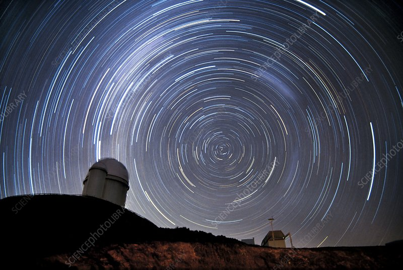 Star trails over La Silla, Chile