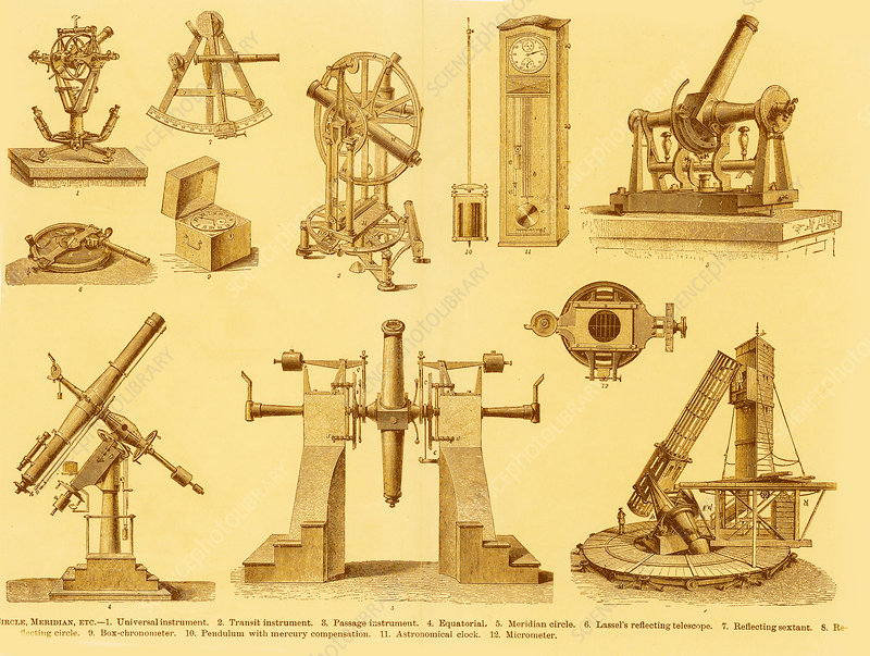Engraving of historical astronomy instrum