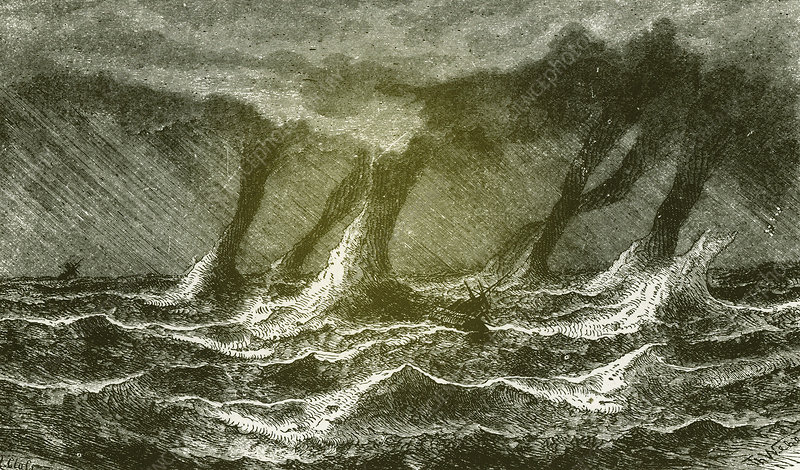 Illustration of waterspouts