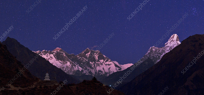 Everest and Himalayas at Night