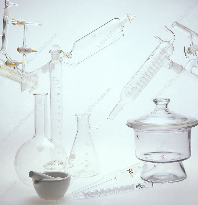 Assorted Lab Glassware with mortar and pe