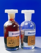 Bottle of bromine and mercury
