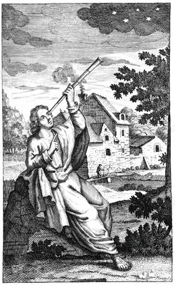 Ptolemy with a telescope, artwork