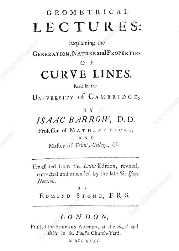 Barrow's Geometrical Lectures, 1735