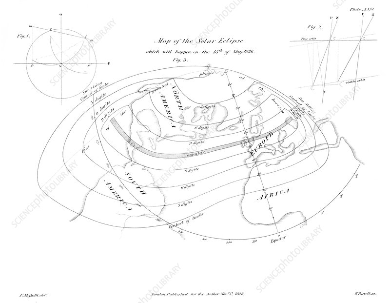 Map of the solar eclipse of 15 May 1836