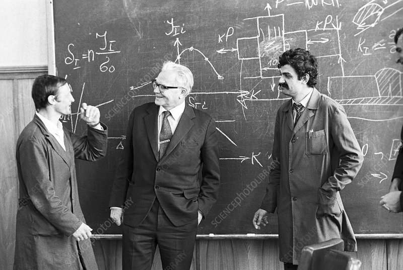 Pisarenko and students, 1983