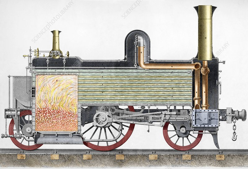 Sectional view of 19thC locomotive