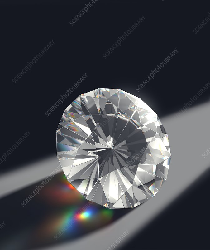 Cut Diamond with Colour Refractions