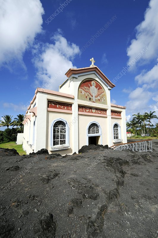 Church spared from lava, Reunion Island