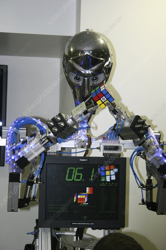 RuBot II robot with a puzzle