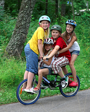Children riding a bike