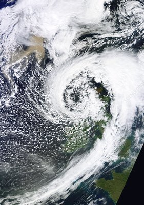 British Isles storm and ash plume, 2011