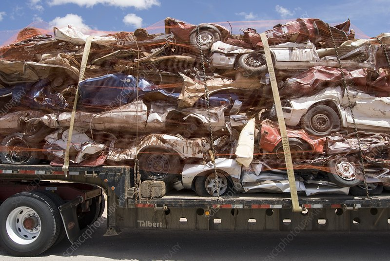 Scrap Cars in Transit for Recycling