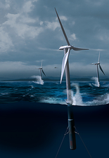 Offshore wind farm in a storm, artwork