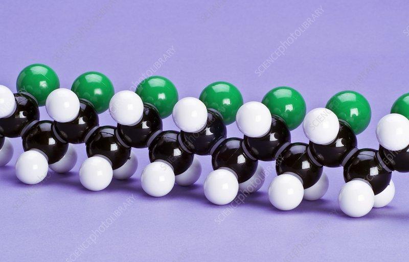 PVC polymer, molecular model