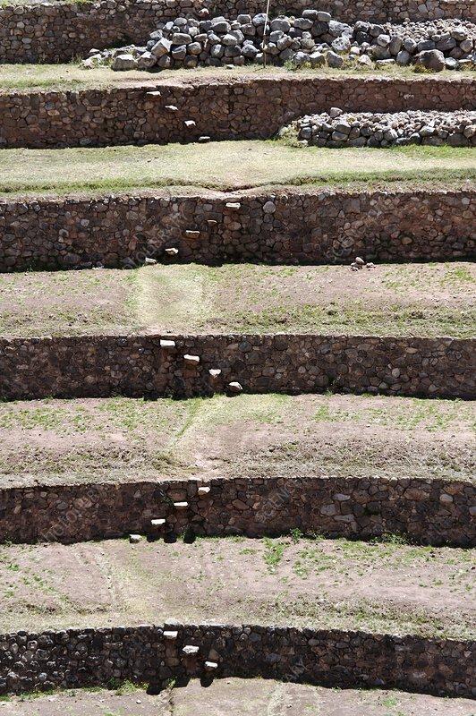 Inca agricultural terraces moray peru stock image c009 for Terrace farming model