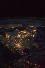 UK at night from space