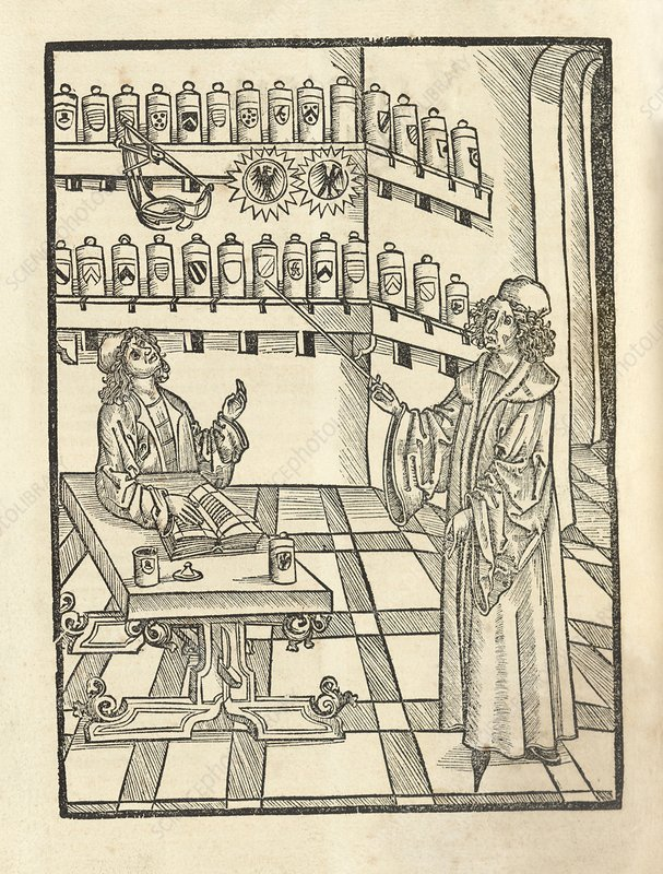 Physician and apothecary, 15th century