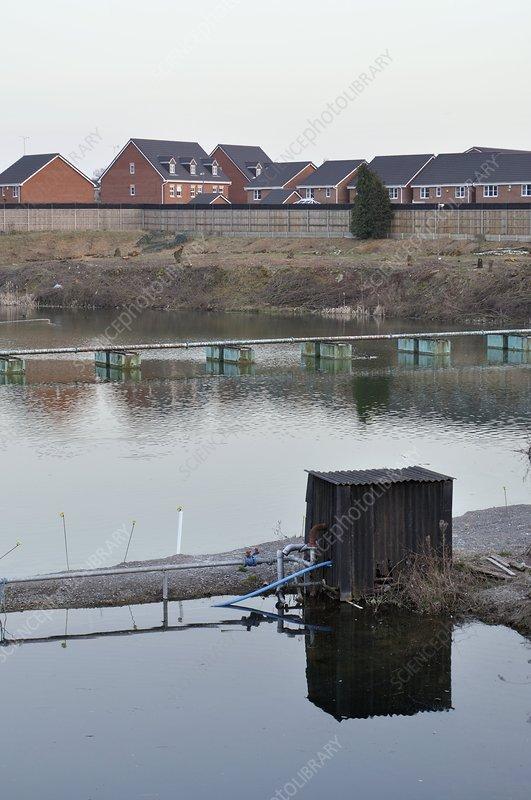 Toxic waste lagoon near to houses