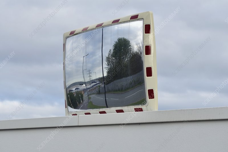 Traffic mirror on wall