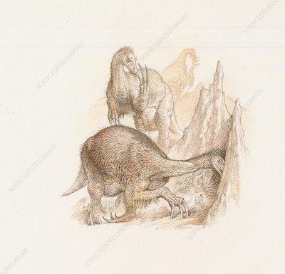 Beipiaosaurus dinosaurs, artwork