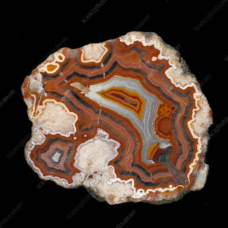 Agate silica crystals in stone