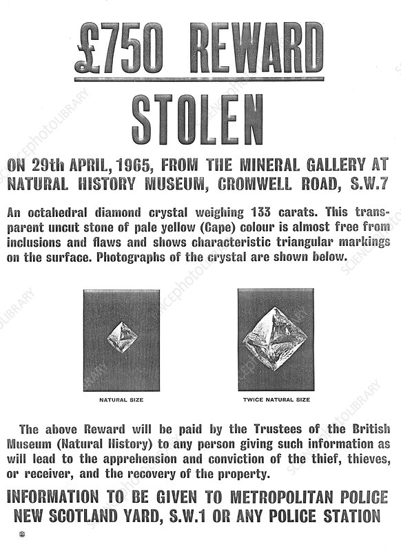 Diamond theft reward poster, April 1965