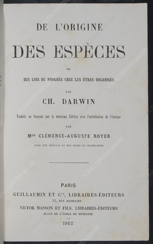 On the Origin of Species, French