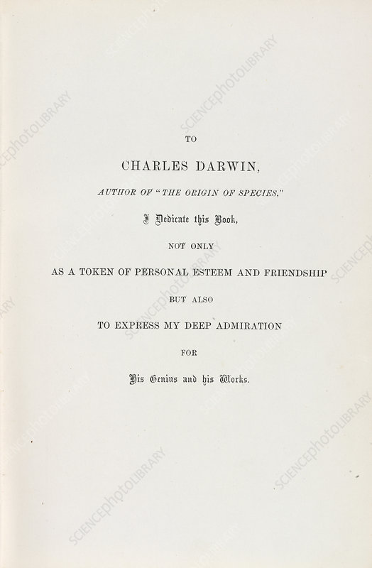 Dedication by Wallace to Darwin, 1869