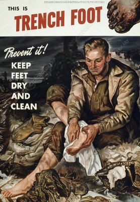Trench foot poster, World War II