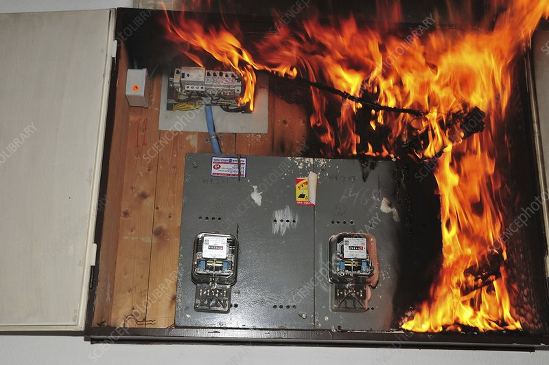 Electrical fire in a household fuse box