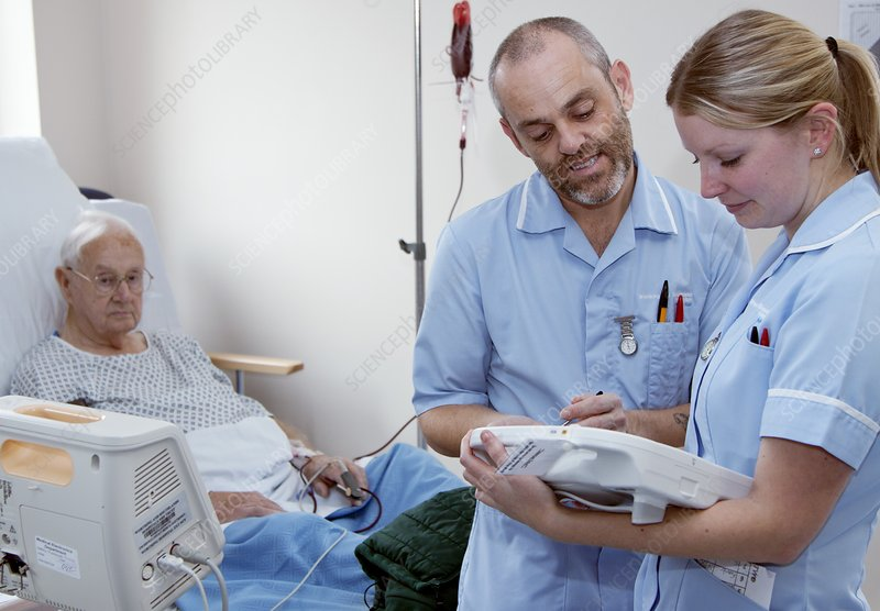 Nurses using handheld computers