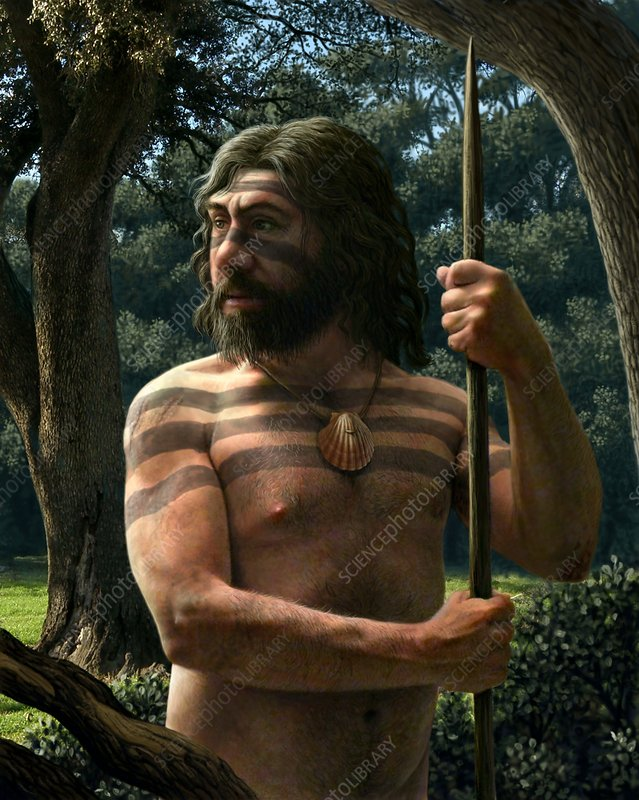Neanderthal with shell ornament, artwork