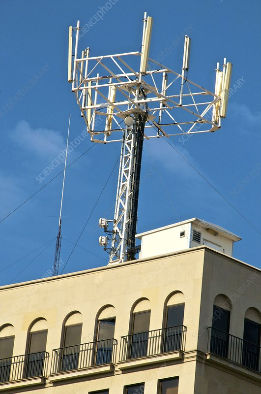 Mobile phone mast on a building
