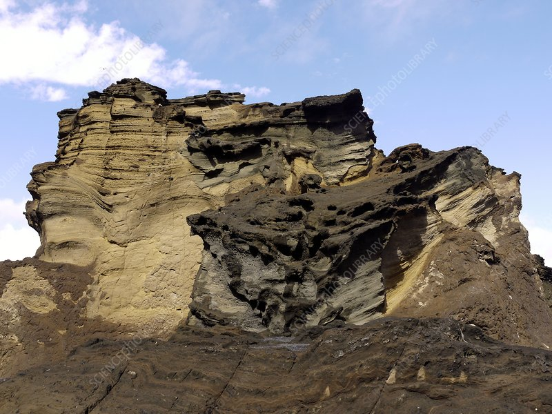 Eroded cliffs of sandstone and lava
