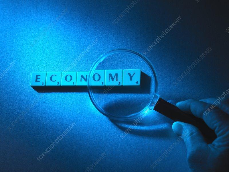 Economic scrutiny, conceptual image