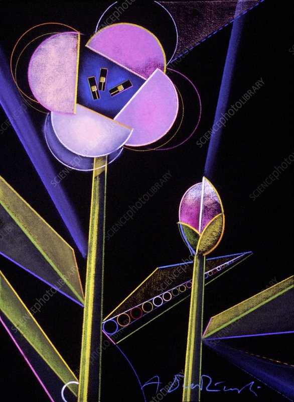 Electronic flowers, conceptual image