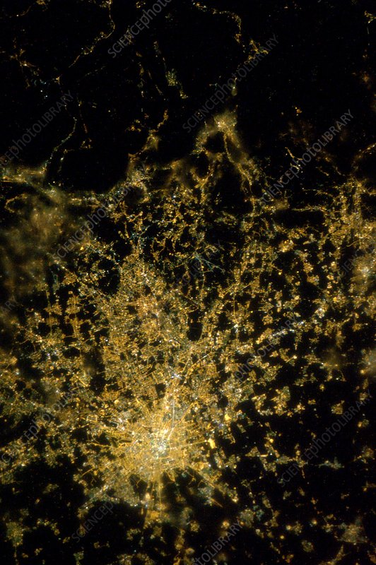 Milan at night from space, ISS image