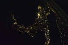 Southern Italy at night from space