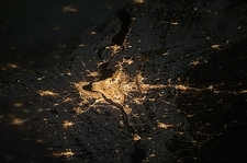 Montreal at night from space, ISS image