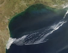 Gravity wave clouds, satellite image
