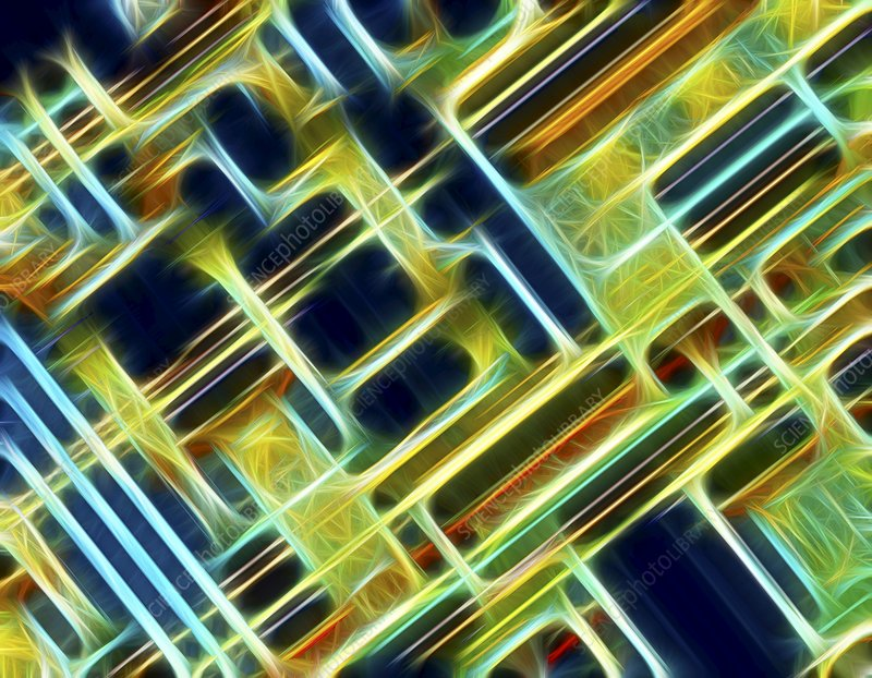 Microchip, light micrograph, artwork