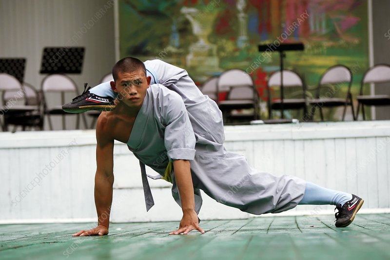 Shaolin monk exercising