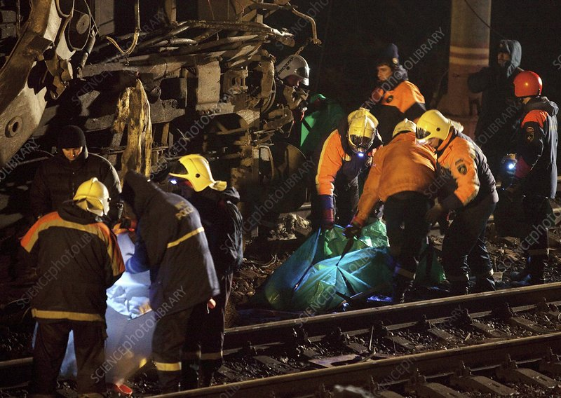 Rescue workers at train crash