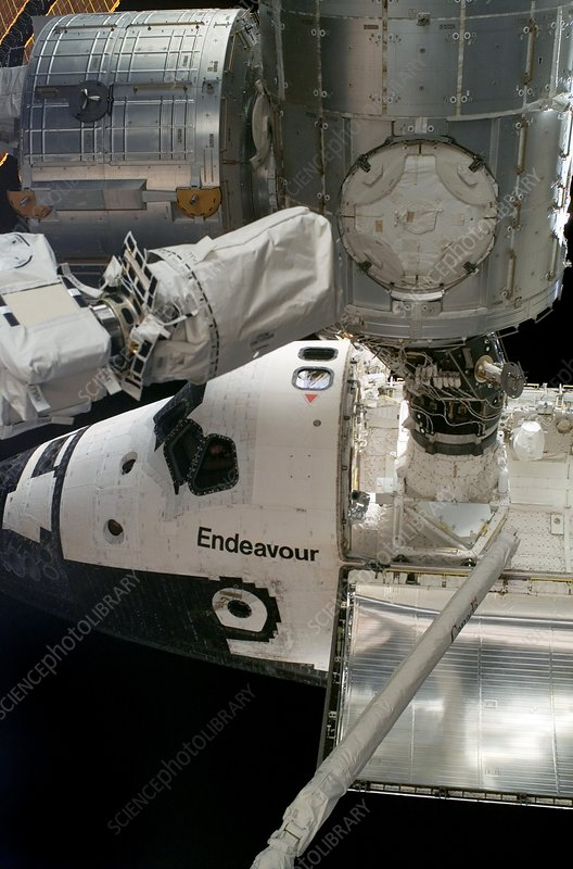 Endeavour docked to the ISS, 2008