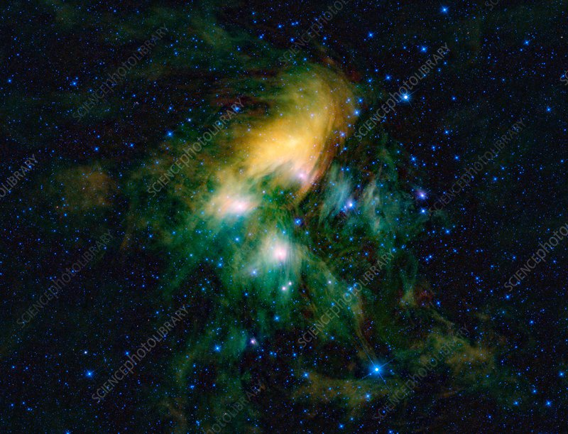 Pleiades star cluster, infrared image
