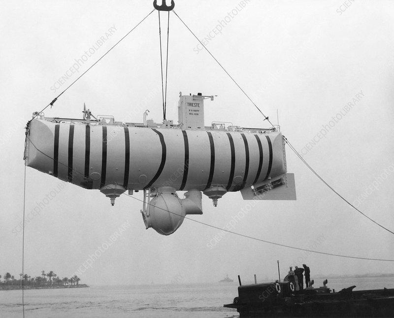 Trieste bathyscape, 1950s