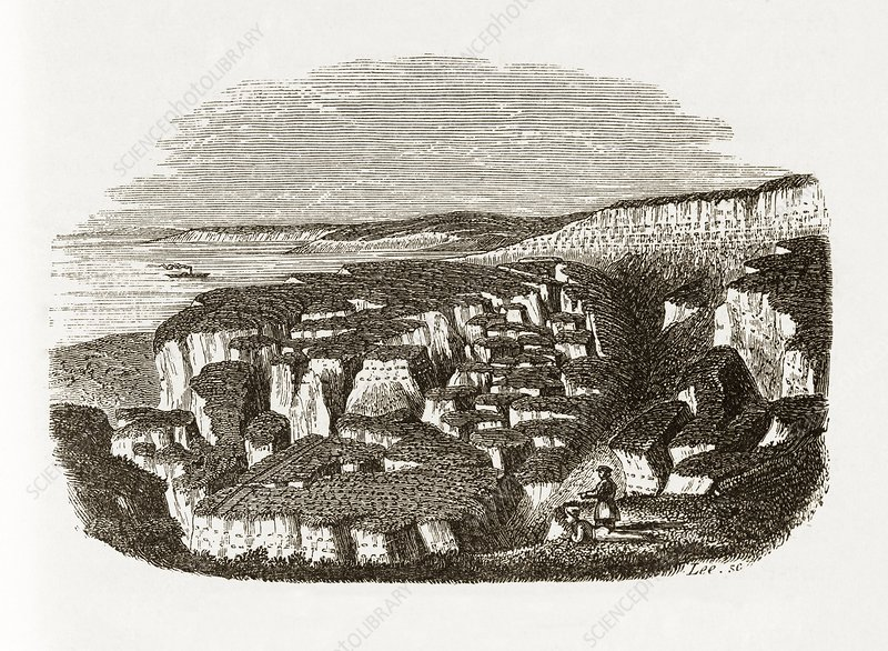 Landslip on the Sussex coast, 1839