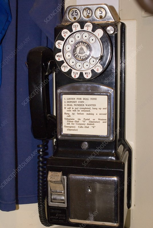 Rotary-dial telephone with coinbox
