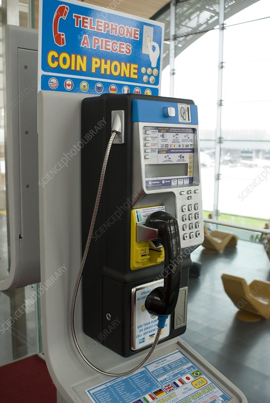 Telephone in airport lounge